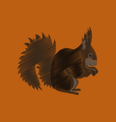 Flat shading style icon squirrel vector