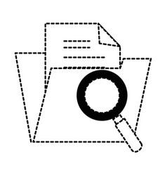 Folder document with magnifying glass vector