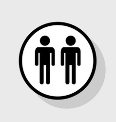 Gay family sign flat black icon in white vector