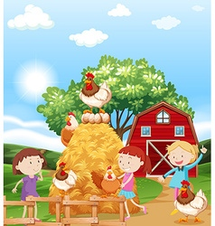 Girls and chickens in the farm vector