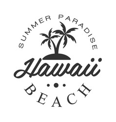 Hawaii beach summer paradise logo template black vector