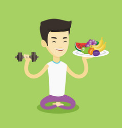 healthy man with fruits and dumbbell vector image vector image