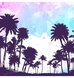 Palm trees on watercolor background vector