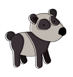Panda cartoon in watercolor silhouette with thin vector