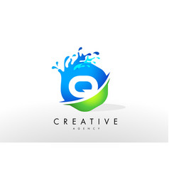Q letter logo blue green splash design vector