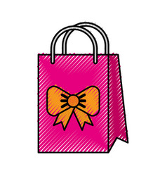 Scribble cute gift bag cartoon vector