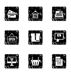 Selling products icons set grunge style vector