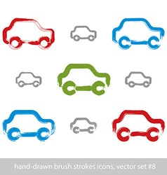 Set of hand-drawn stroke colorful car icons vector image vector image