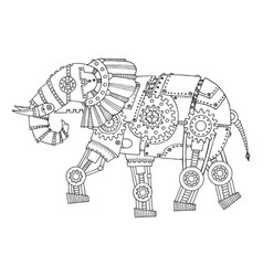 Steam punk style elephant coloring book vector