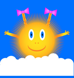 Sun icon on blue sky vector