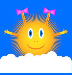 sun icon on blue sky vector image