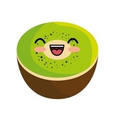 Tasty kawaii kiwi organic fruit vector