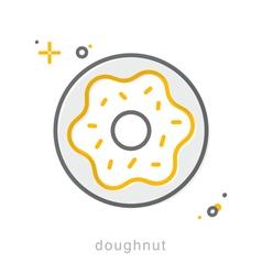 Thin line icons doughnut vector