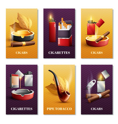 tobacco products cards set vector image vector image