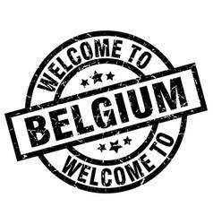 Welcome to belgium black stamp vector