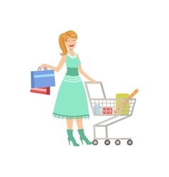 Woman Shopping With Cart And Paper Bags vector image vector image