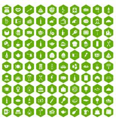 100 restaurant icons hexagon green vector