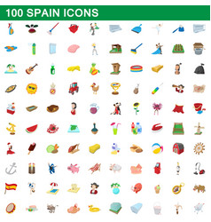 100 spain icons set cartoon style vector image vector image