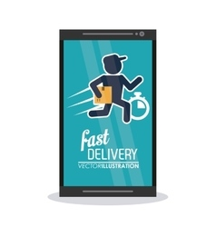 Smartphone and deliver man icon fast delivery vector