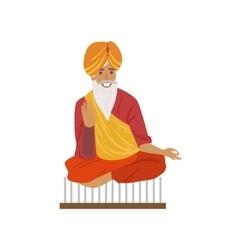 Indian yogi sitting on nails vector