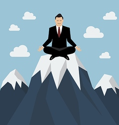 Businessman meditating on a mountain peak vector