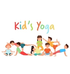 Cute yoga kids team group children yoga vector