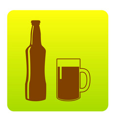 Beer bottle sign  brown icon at green vector