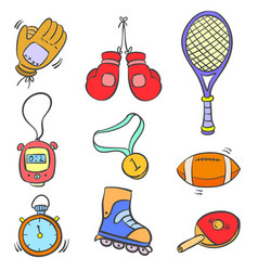 Doodle of sport equipment object various vector