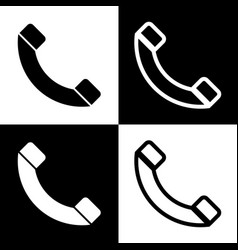 phone sign   black and white vector image