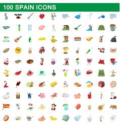100 spain icons set cartoon style vector