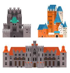 Medieval castle or citadel fort medieval palace vector