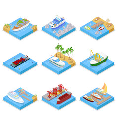 Isometric ships and boats set with cruise vector
