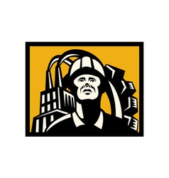 Worker with factory building and gear in back vector image