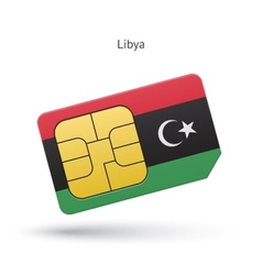Libya mobile phone sim card with flag vector