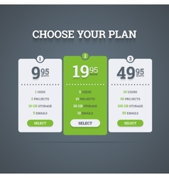 Pricing plans vector