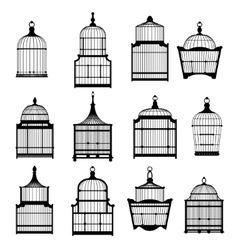 Se of vintage birdcages 03 vector