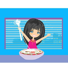Little girl eating spaghetti vector