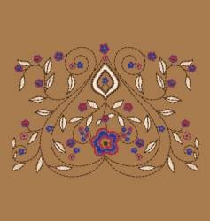 paisley floral embroidery vector image