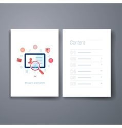 Modern people search and privacy flat icons cards vector