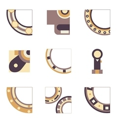Parts of bearing colored icons vector