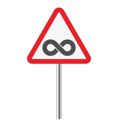 Infinity in warning sign vector