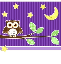 Owl at night vector