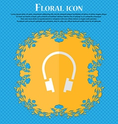 Headsets floral flat design on a blue abstract vector