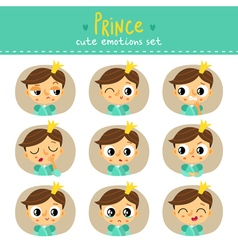 Prince little boy cute emotions set vector image