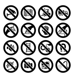 Set prohibited symbols industrial hazard black sig vector