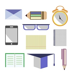 Set of icons letter glasses alarm vector