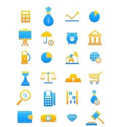 Blue yellow economy icons set vector