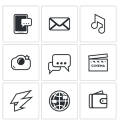 Set of smartphone icons phone message vector