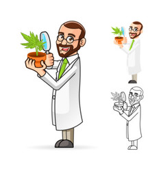Plant Scientist Looking at a Plant vector image