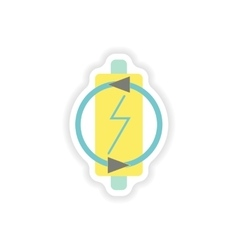 Paper sticker on white background mobile battery vector